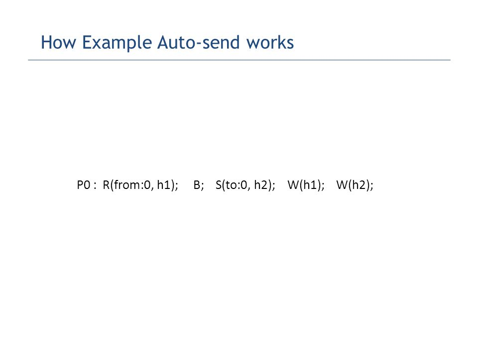 P0 : R(from:0, h1); B; S(to:0, h2); W(h1); W(h2); How Example Auto-send works