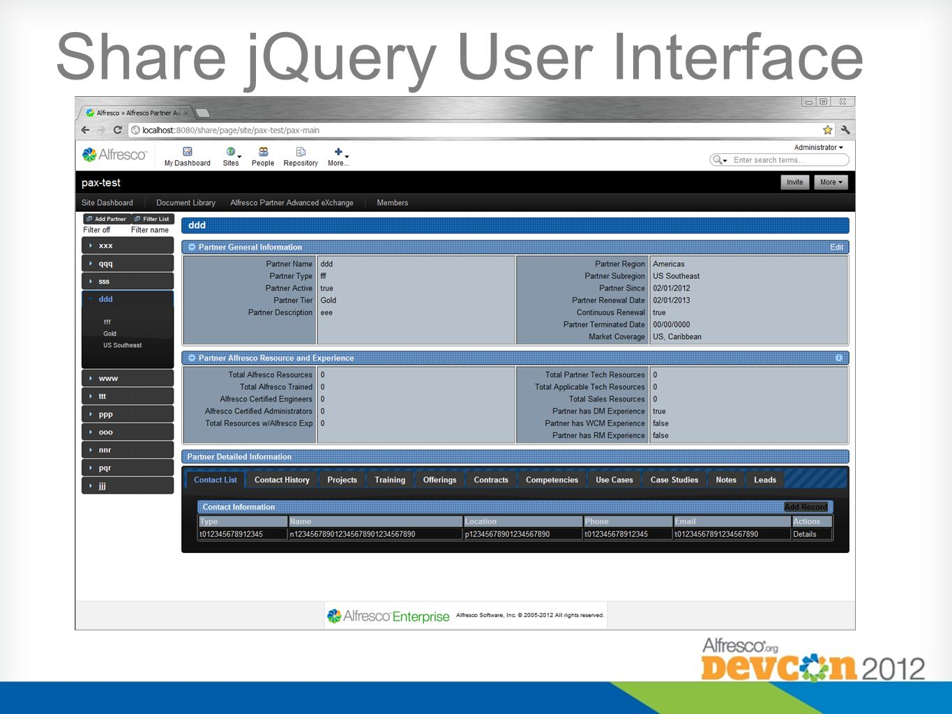 Share jQuery User Interface