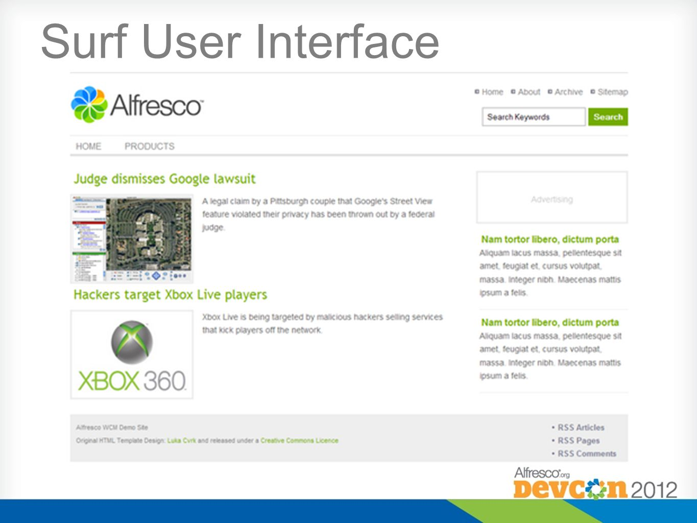 Surf User Interface