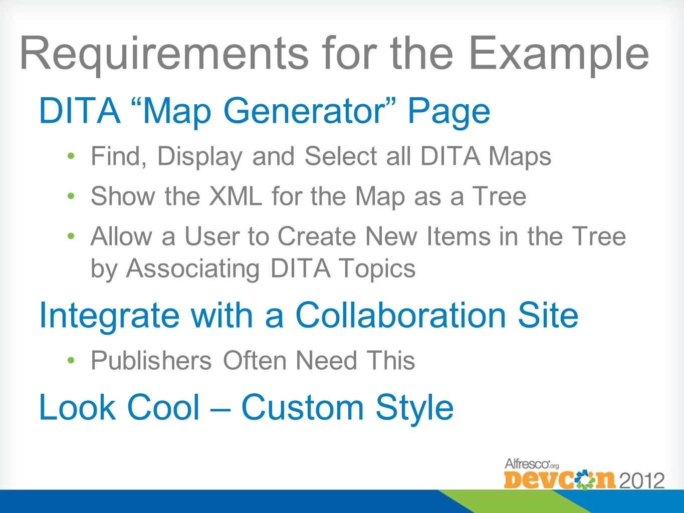 Requirements for the Example DITA Map Generator Page Find, Display and Select all DITA Maps Show the XML for the Map as a Tree Allow a User to Create New Items in the Tree by Associating DITA Topics Integrate with a Collaboration Site Publishers Often Need This Look Cool – Custom Style