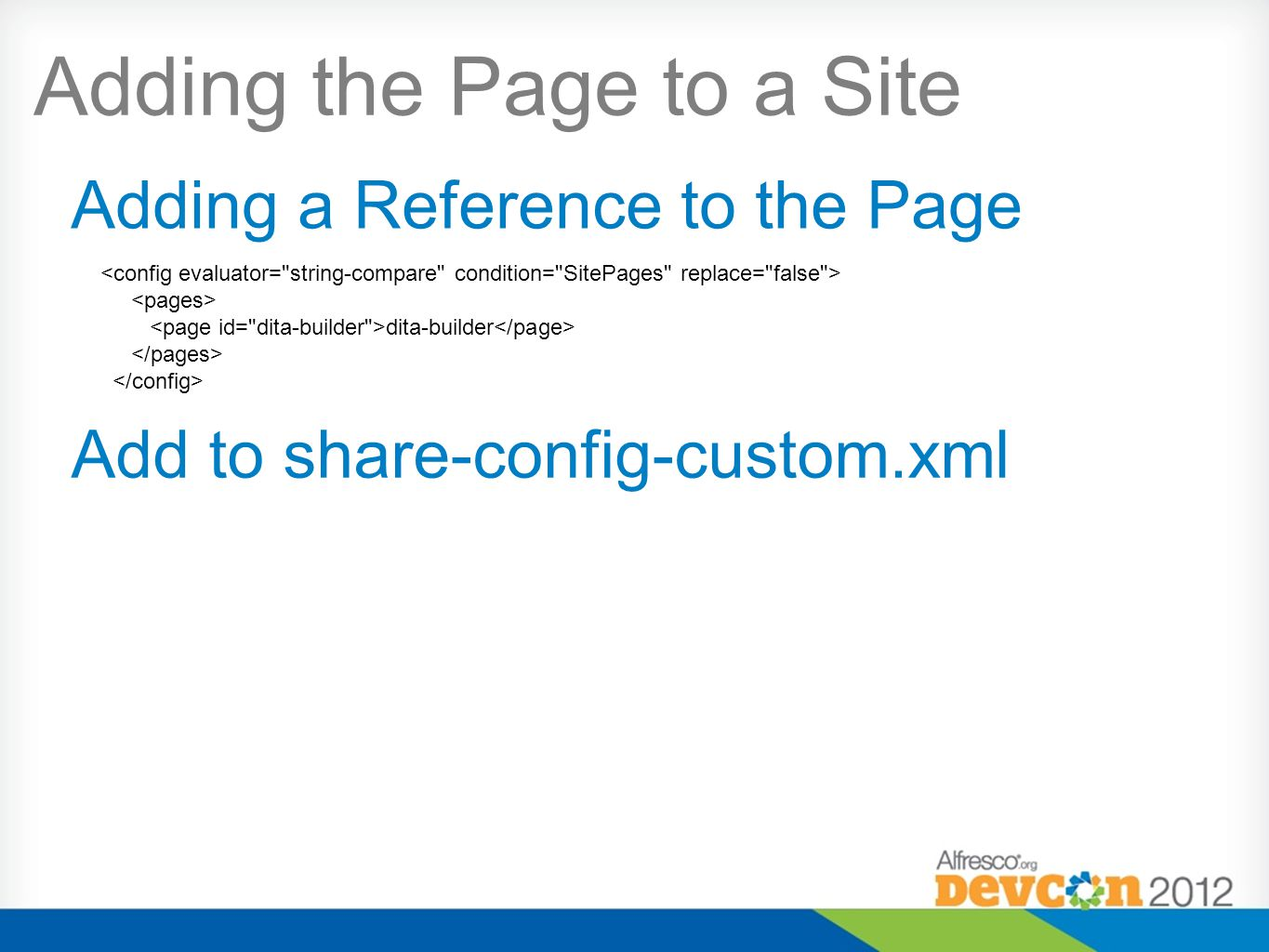 Adding the Page to a Site dita-builder Adding a Reference to the Page Add to share-config-custom.xml