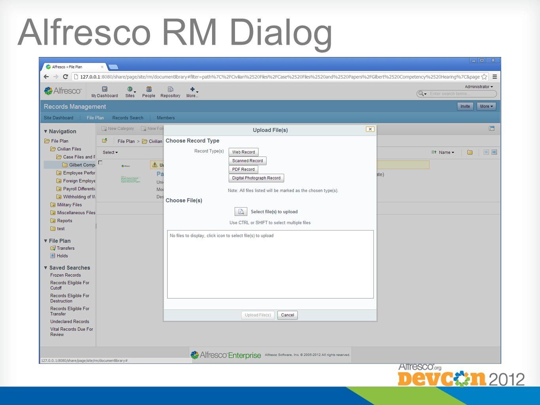 Alfresco RM Dialog