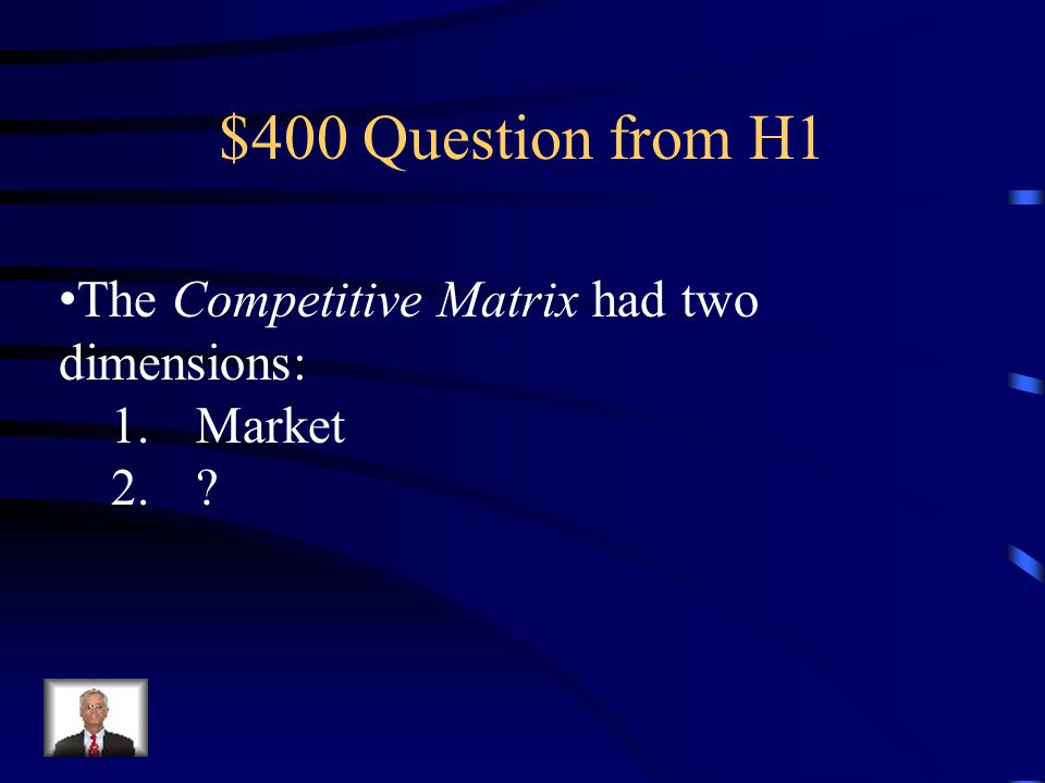 $300 Answer from H1 Porter's Three Generic Strategies (aka Competitive Matrix)