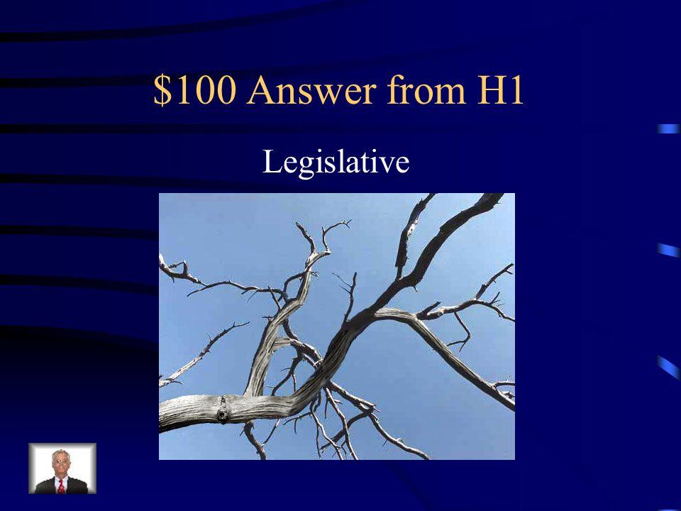 $100 Answer from H2 Legislative Branch