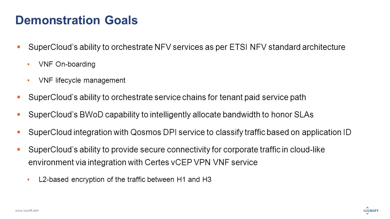 www.luxoft.com Demonstration Goals  SuperCloud's ability to orchestrate NFV services as per ETSI NFV standard architecture VNF On-boarding VNF lifecycle management  SuperCloud's ability to orchestrate service chains for tenant paid service path  SuperCloud's BWoD capability to intelligently allocate bandwidth to honor SLAs  SuperCloud integration with Qosmos DPI service to classify traffic based on application ID  SuperCloud's ability to provide secure connectivity for corporate traffic in cloud-like environment via integration with Certes vCEP VPN VNF service L2-based encryption of the traffic between H1 and H3