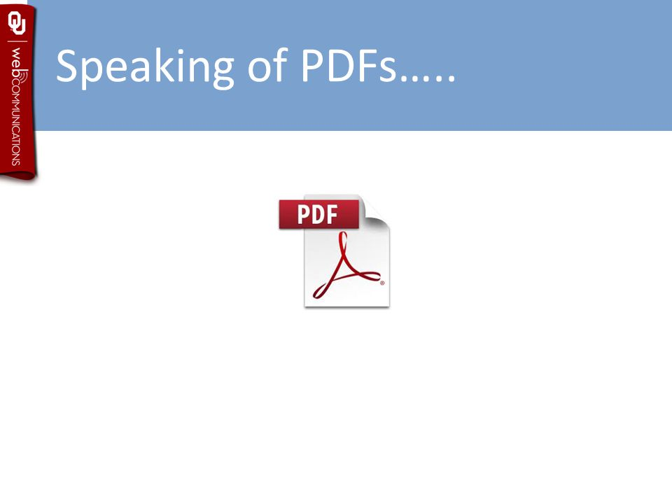 Speaking of PDFs…..