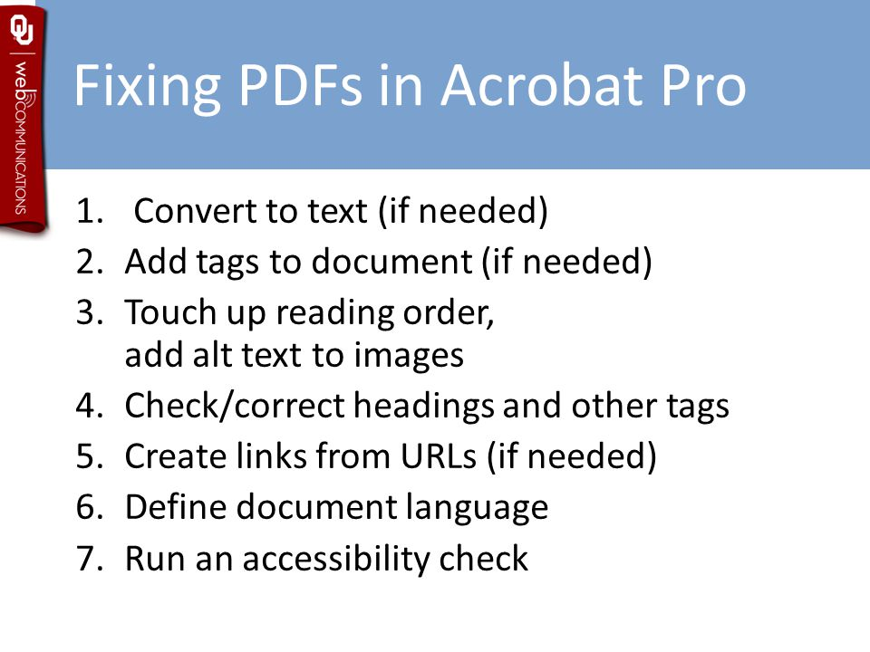 Fixing PDFs in Acrobat Pro 1.