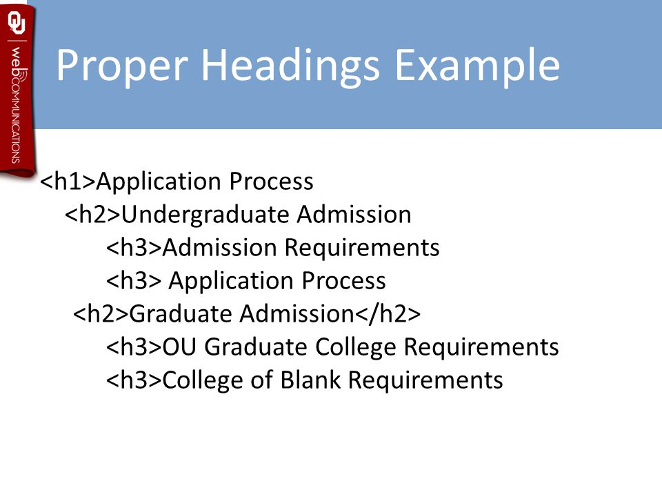 Proper Headings Example Application Process Undergraduate Admission Admission Requirements Application Process Graduate Admission OU Graduate College