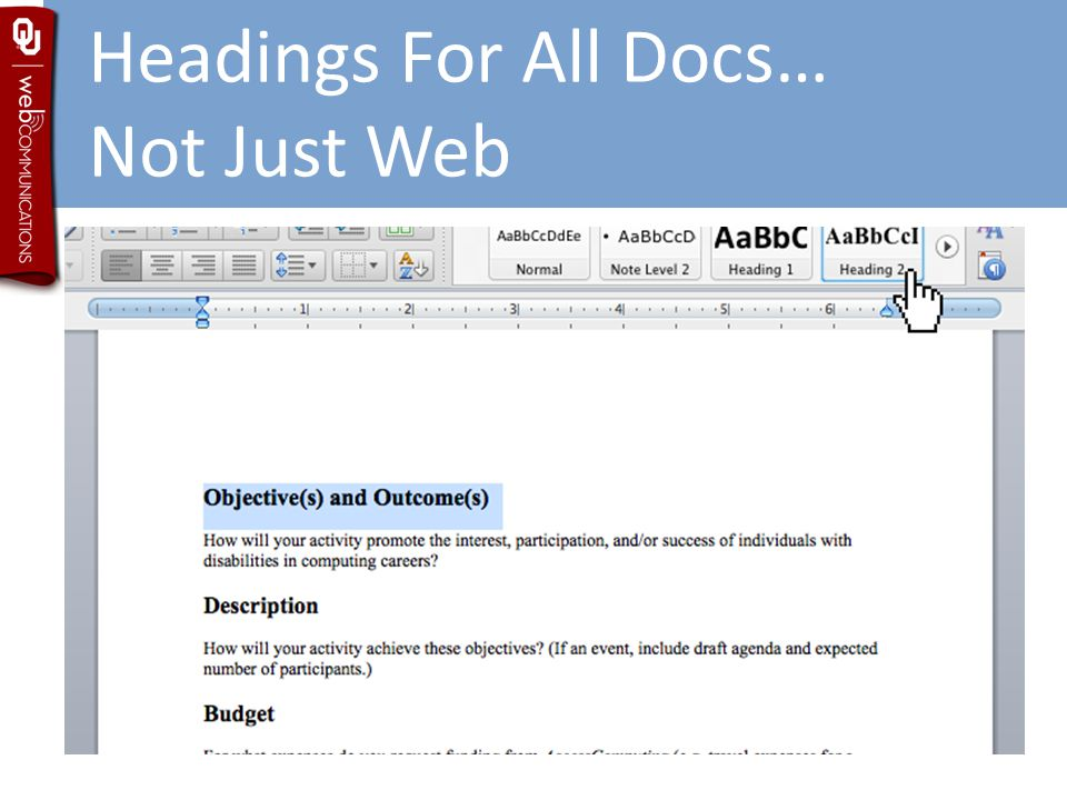 Headings For All Docs… Not Just Web