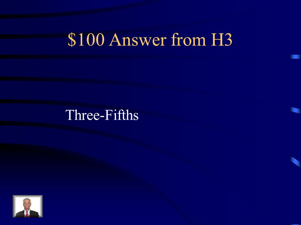 $100 Question from H3 Slaves are counted by what portion for the purposes of representation in Congress and presidential electors