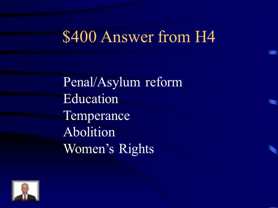 $400 Question from H4 Name 3 of the 5 areas of focus during the 2 nd Great Awakening