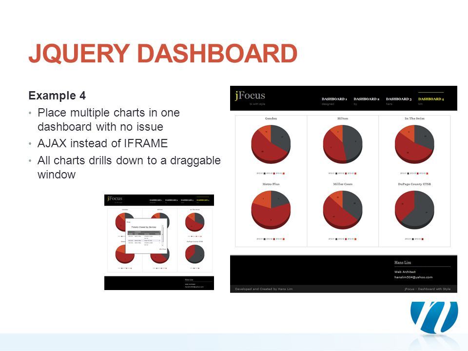 JQUERY DASHBOARD Example 4 Place multiple charts in one dashboard with no issue AJAX instead of IFRAME All charts drills down to a draggable window
