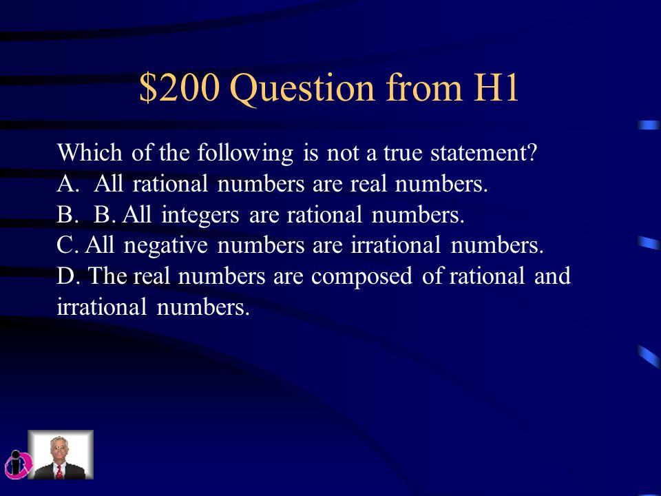 $100 Question from H1 Perry want to simplify the following expressions: 5² ÷ (1 + 4) – 3 * 2 Which operation should he complete first.