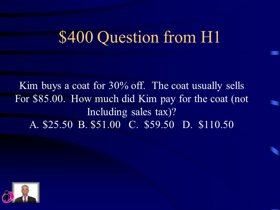 $300 Question from H1 What is the value of a(3 + a ÷ 2) – 5, when a = 6? A. 52 B. 31 C. 22 D. 16