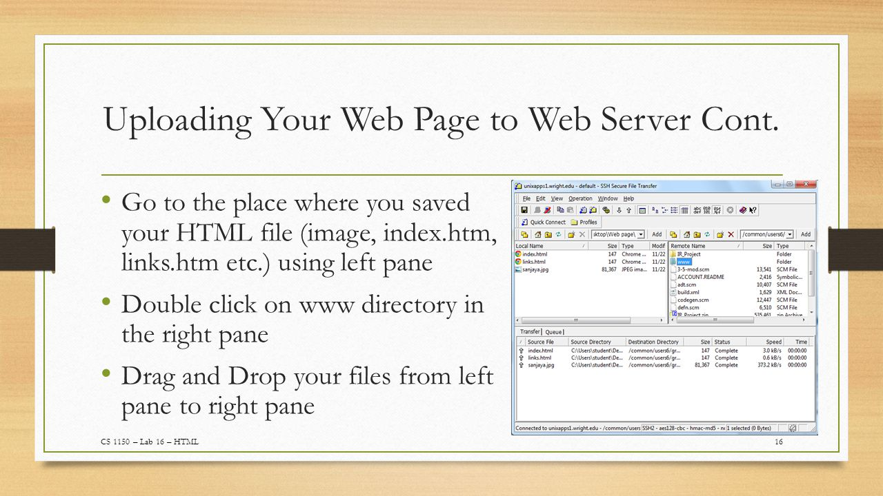 Uploading Your Web Page to Web Server Cont.