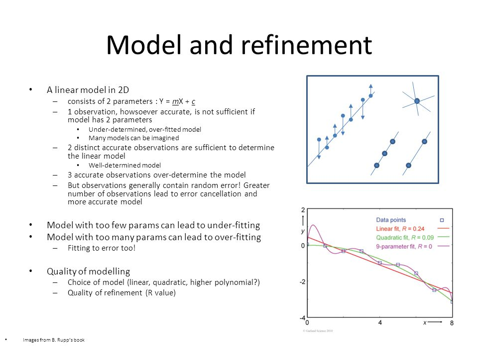 Model and refinement A linear model in 2D – consists of 2 parameters : Y = mX + c – 1 observation, howsoever accurate, is not sufficient if model has 2 parameters Under-determined, over-fitted model Many models can be imagined – 2 distinct accurate observations are sufficient to determine the linear model Well-determined model – 3 accurate observations over-determine the model – But observations generally contain random error.