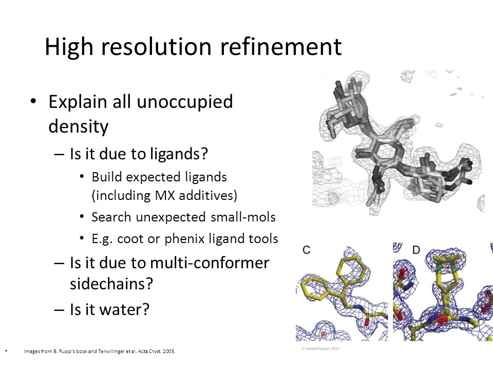 High resolution refinement Explain all unoccupied density – Is it due to ligands.