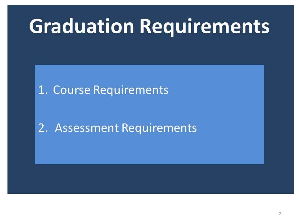 Graduation Requirements 2 1.Course Requirements 2.Assessment Requirements