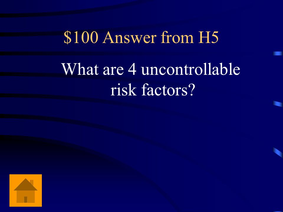 $100 Risk factors Age, gender, heredity and race.