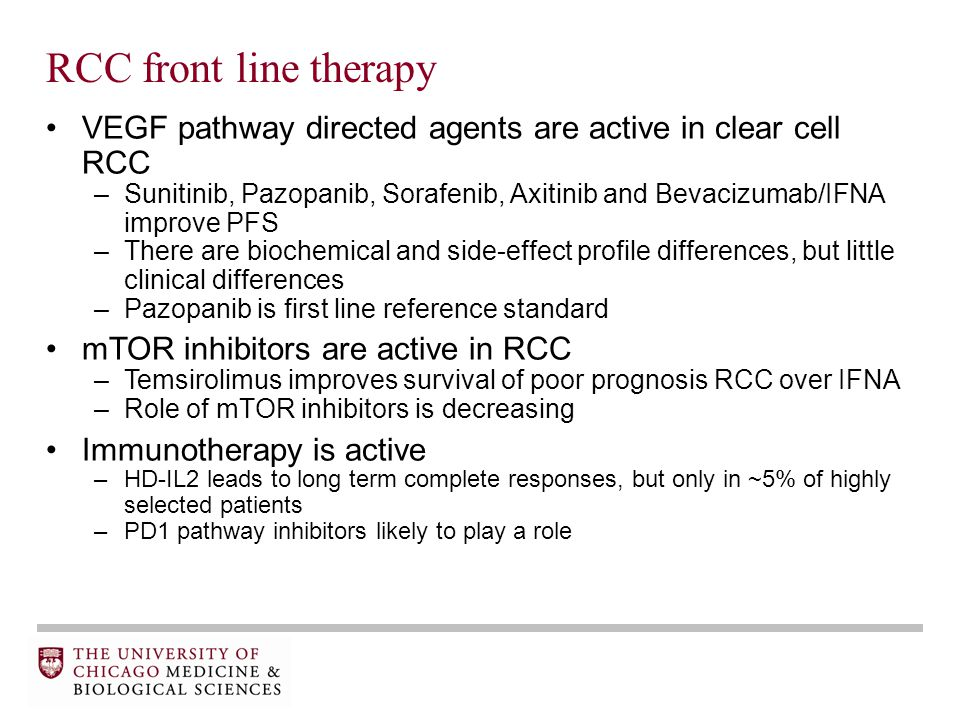 RCC front line therapy VEGF pathway directed agents are active in clear cell RCC –Sunitinib, Pazopanib, Sorafenib, Axitinib and Bevacizumab/IFNA improve PFS –There are biochemical and side-effect profile differences, but little clinical differences –Pazopanib is first line reference standard mTOR inhibitors are active in RCC –Temsirolimus improves survival of poor prognosis RCC over IFNA –Role of mTOR inhibitors is decreasing Immunotherapy is active –HD-IL2 leads to long term complete responses, but only in ~5% of highly selected patients –PD1 pathway inhibitors likely to play a role