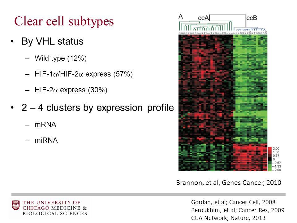 Clear cell subtypes By VHL status –Wild type (12%) –HIF-1  /HIF-2  express (57%) –HIF-2  express (30%) 2 – 4 clusters by expression profile –mRNA –miRNA Gordan, et al; Cancer Cell, 2008 Beroukhim, et al; Cancer Res, 2009 CGA Network, Nature, 2013 Brannon, et al, Genes Cancer, 2010