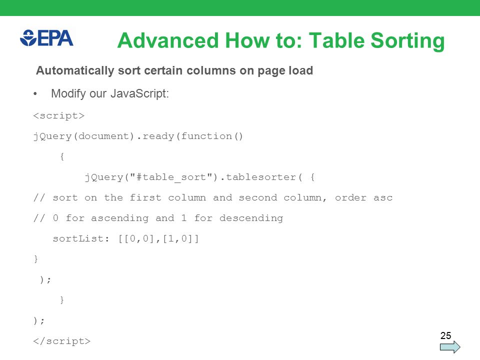 25 Advanced How to: Table Sorting Automatically sort certain columns on page load Modify our JavaScript: jQuery(document).ready(function() { jQuery( #table_sort ).tablesorter( { // sort on the first column and second column, order asc // 0 for ascending and 1 for descending sortList: [[0,0],[1,0]] } ); } );