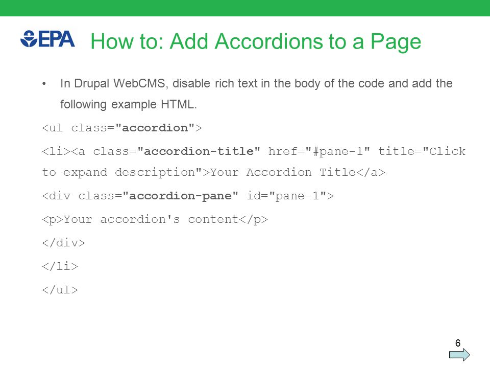 6 In Drupal WebCMS, disable rich text in the body of the code and add the following example HTML.