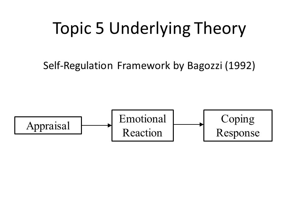 Topic 5 Underlying Theory Self-Regulation Framework by Bagozzi (1992) Appraisal Emotional Reaction Coping Response