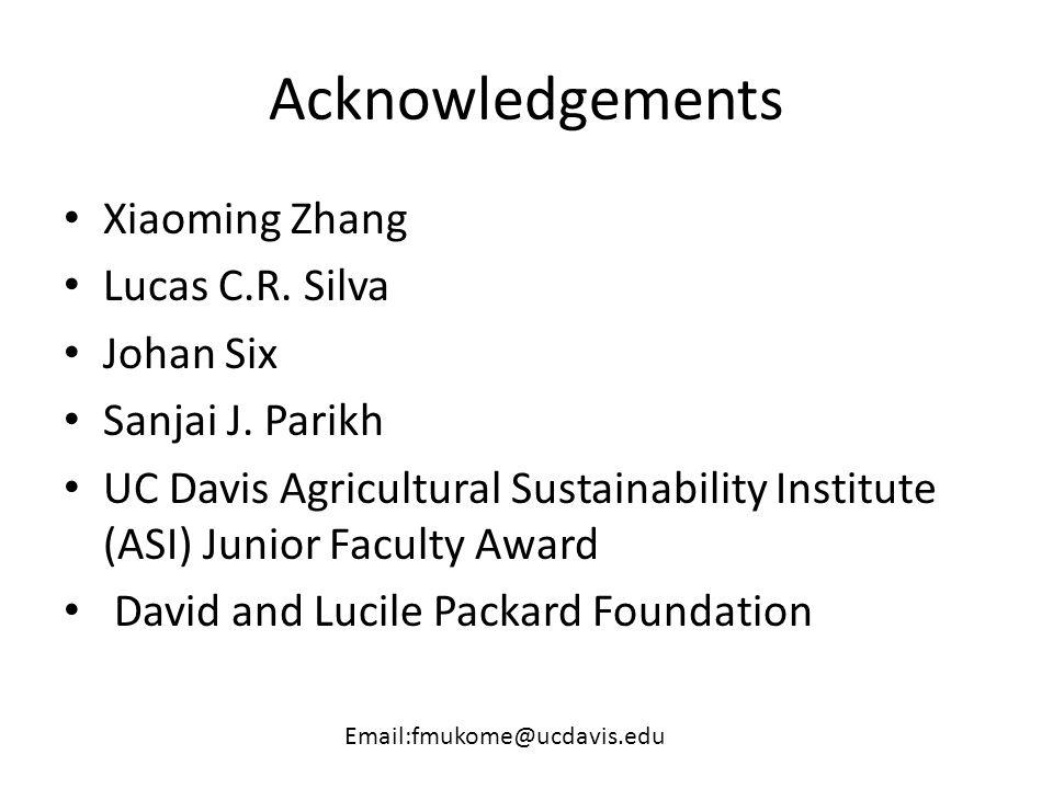Acknowledgements Xiaoming Zhang Lucas C.R. Silva Johan Six Sanjai J. Parikh UC Davis Agricultural Sustainability Institute (ASI) Junior Faculty Award