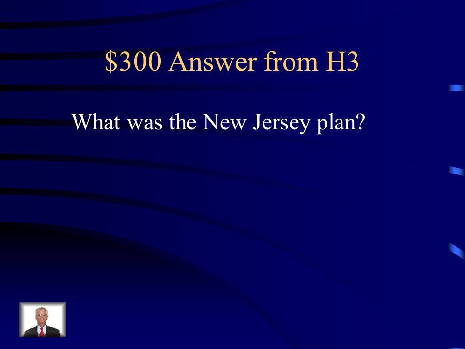 $300 Question from H3 Name of the plan that called for each state to have equal representation