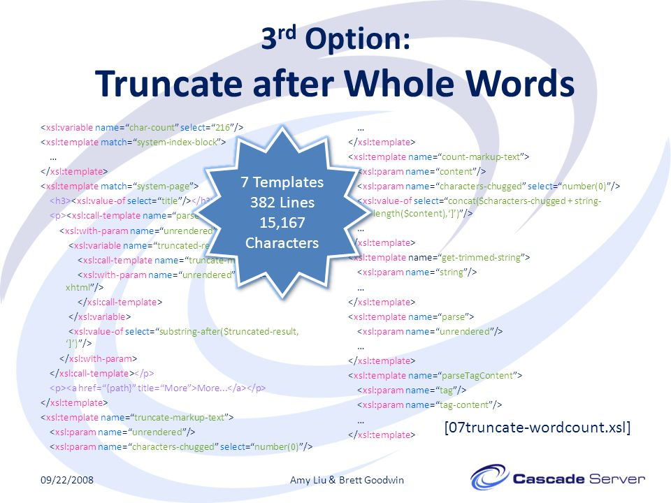 3 rd Option: Truncate after Whole Words … More...