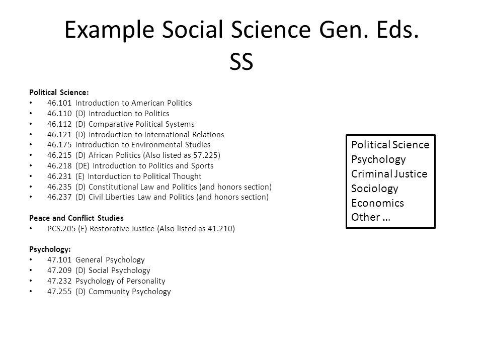 Example Social Science Gen.Eds.
