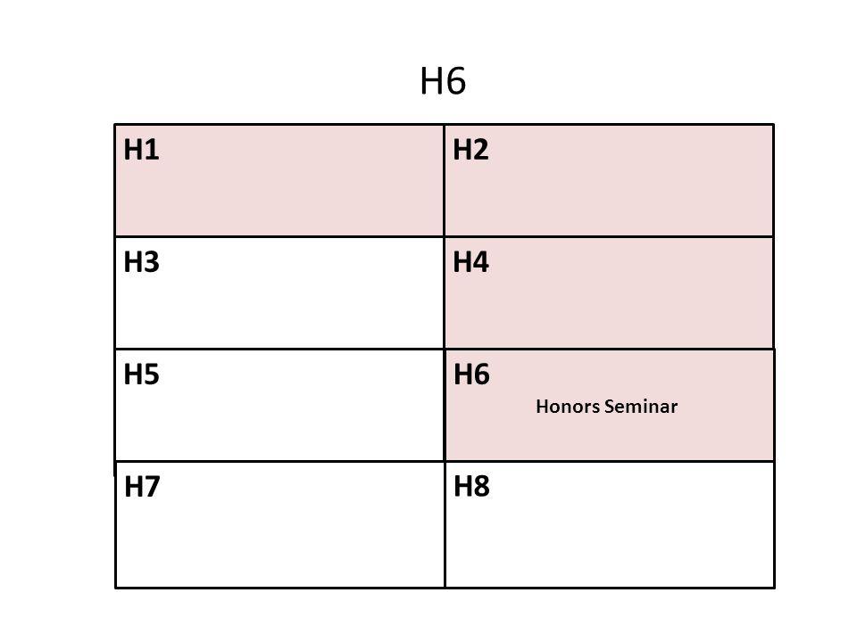 H1H2 H4 H6 Honors Seminar H3 H5 H7 H8 H6