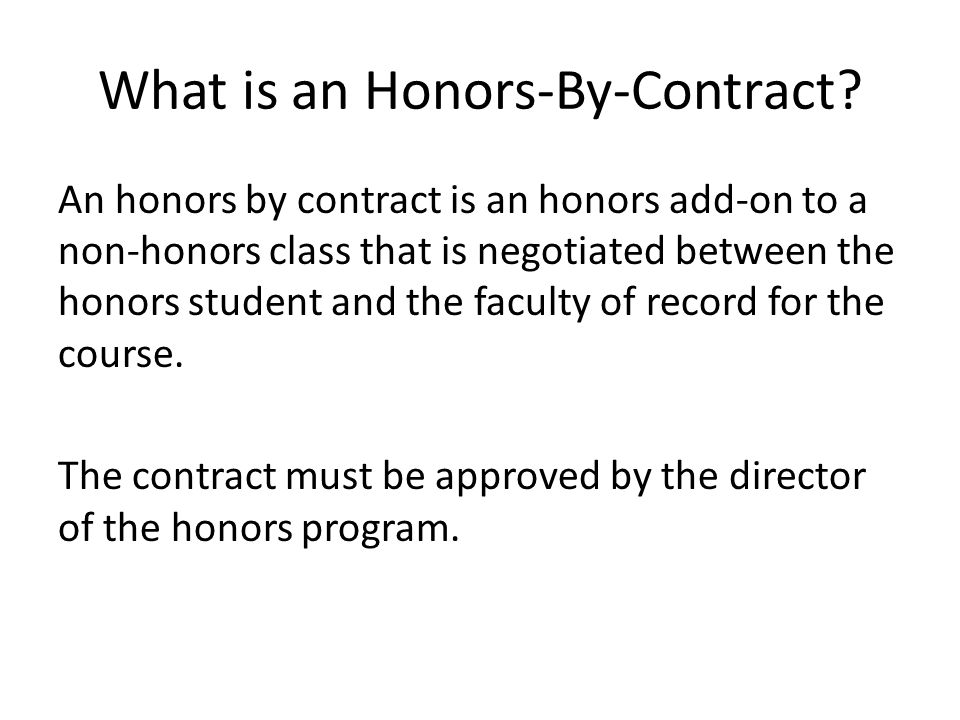 What is an Honors-By-Contract.