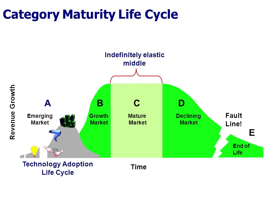 Time Revenue Growth Growth Market Mature Market Declining Market Indefinitely elastic middle End of Life Fault Line.