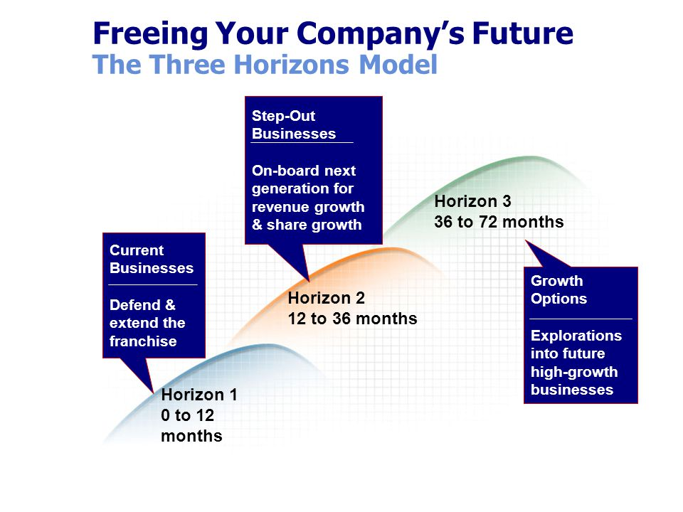 Freeing Your Company's Future The Three Horizons Model Horizon 1 0 to 12 months Horizon 2 12 to 36 months Horizon 3 36 to 72 months Current Businesses