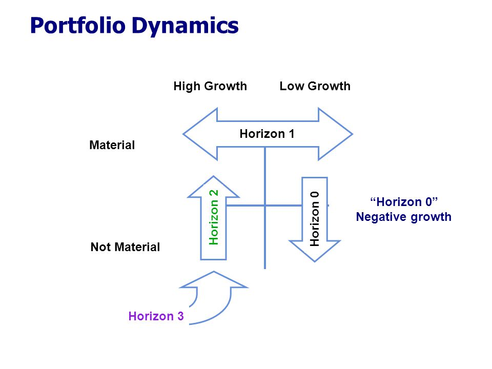 "High GrowthLow Growth Material Not Material Horizon 2 Horizon 1 Horizon 3 Horizon 0 Portfolio Dynamics ""Horizon 0"" Negative growth"
