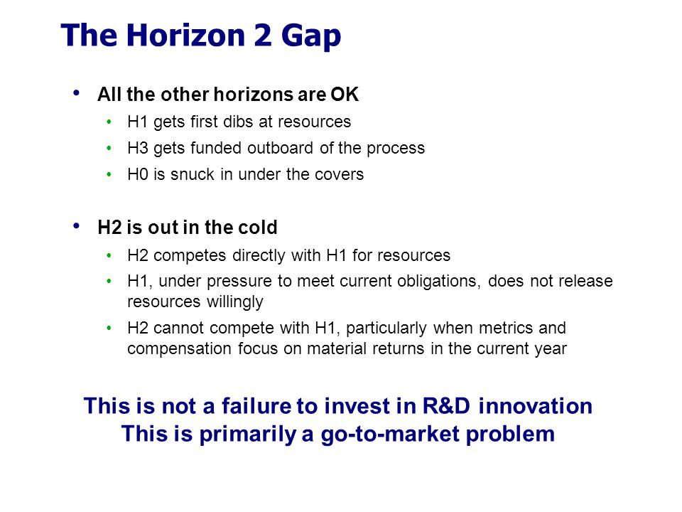 The Horizon 2 Gap All the other horizons are OK H1 gets first dibs at resources H3 gets funded outboard of the process H0 is snuck in under the covers H2 is out in the cold H2 competes directly with H1 for resources H1, under pressure to meet current obligations, does not release resources willingly H2 cannot compete with H1, particularly when metrics and compensation focus on material returns in the current year This is not a failure to invest in R&D innovation This is primarily a go-to-market problem