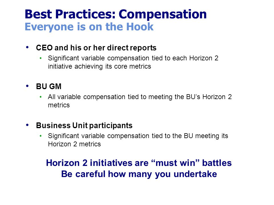 Best Practices: Compensation Everyone is on the Hook CEO and his or her direct reports Significant variable compensation tied to each Horizon 2 initia