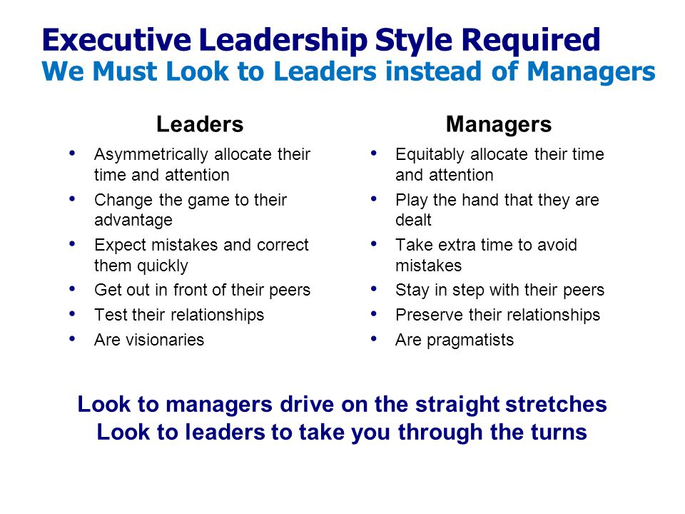 Executive Leadership Style Required We Must Look to Leaders instead of Managers Leaders Asymmetrically allocate their time and attention Change the ga