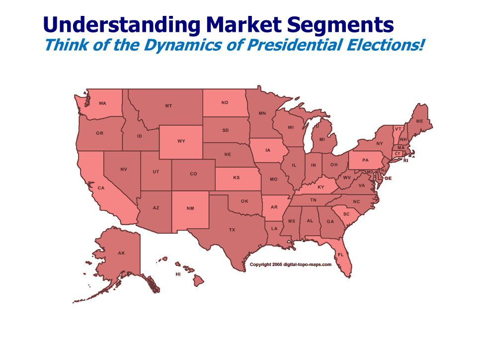 Understanding Market Segments Think of the Dynamics of Presidential Elections!