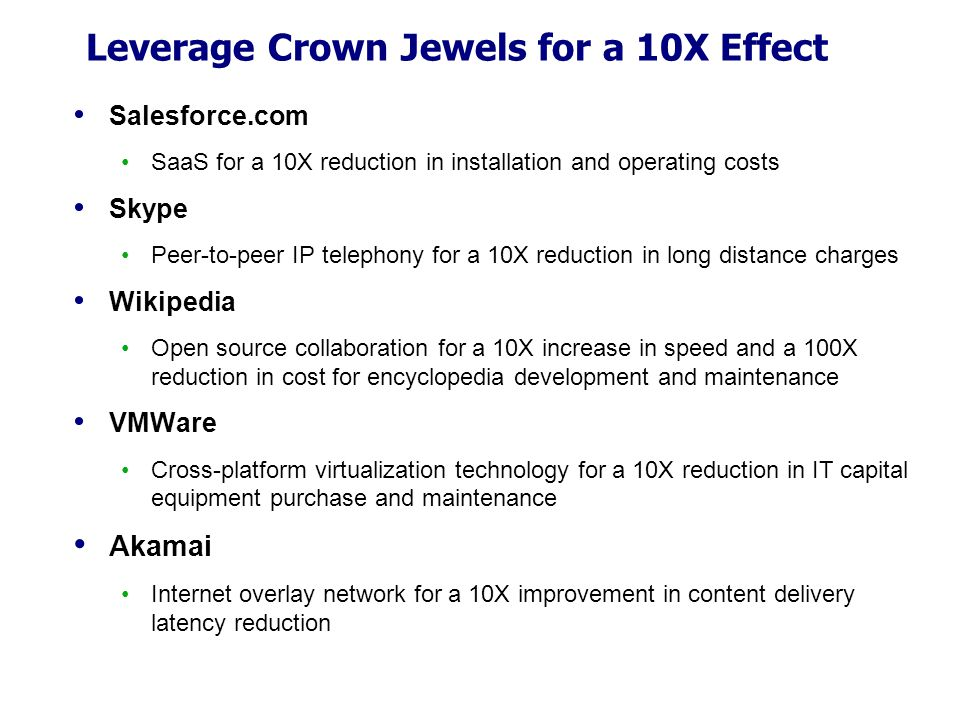 Leverage Crown Jewels for a 10X Effect Salesforce.com SaaS for a 10X reduction in installation and operating costs Skype Peer-to-peer IP telephony for a 10X reduction in long distance charges Wikipedia Open source collaboration for a 10X increase in speed and a 100X reduction in cost for encyclopedia development and maintenance VMWare Cross-platform virtualization technology for a 10X reduction in IT capital equipment purchase and maintenance Akamai Internet overlay network for a 10X improvement in content delivery latency reduction