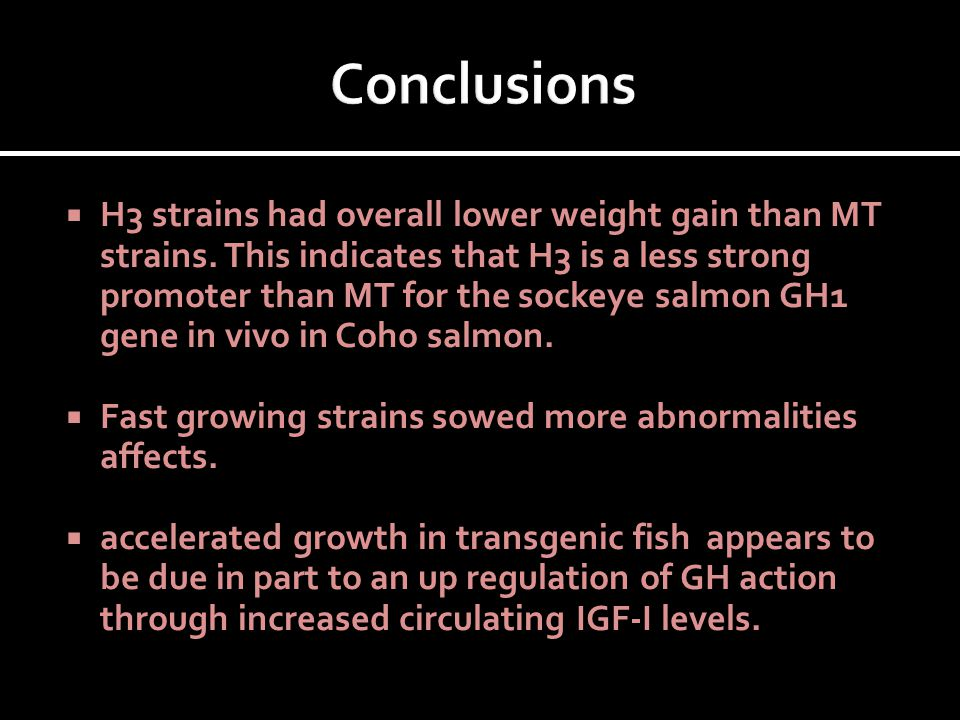  H3 strains had overall lower weight gain than MT strains. This indicates that H3 is a less strong promoter than MT for the sockeye salmon GH1 gene i