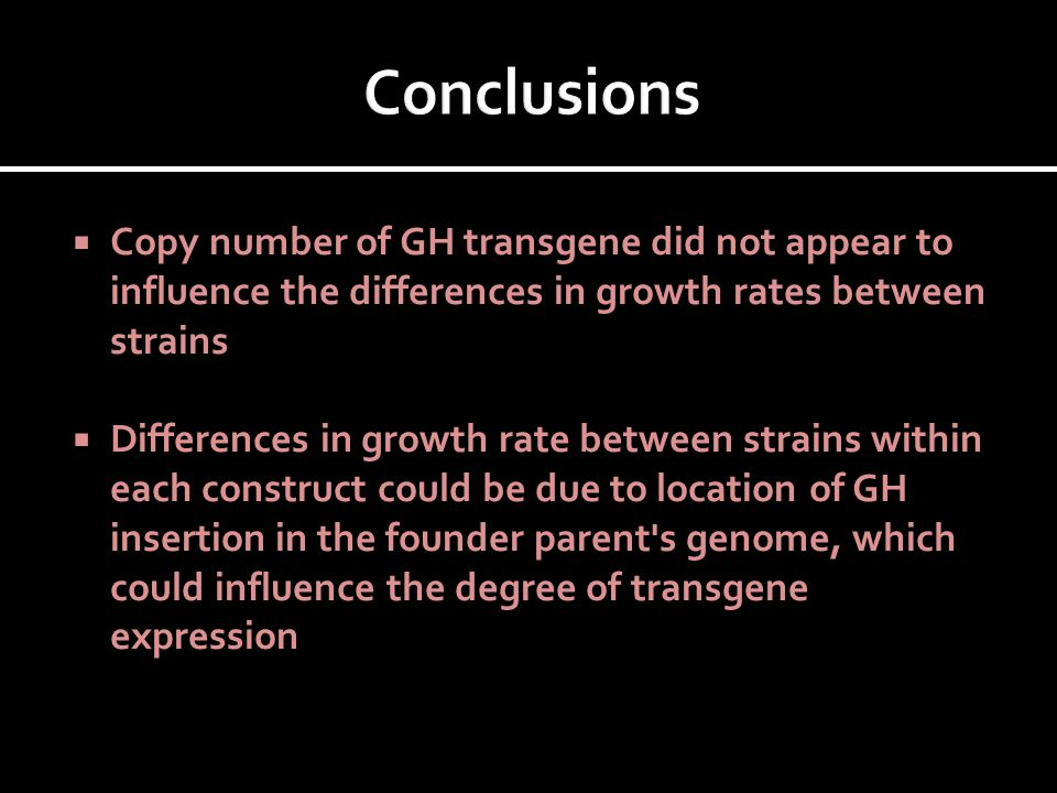  Copy number of GH transgene did not appear to influence the differences in growth rates between strains  Differences in growth rate between strains