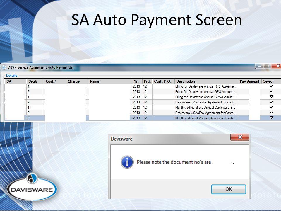 SA Auto Payment Screen