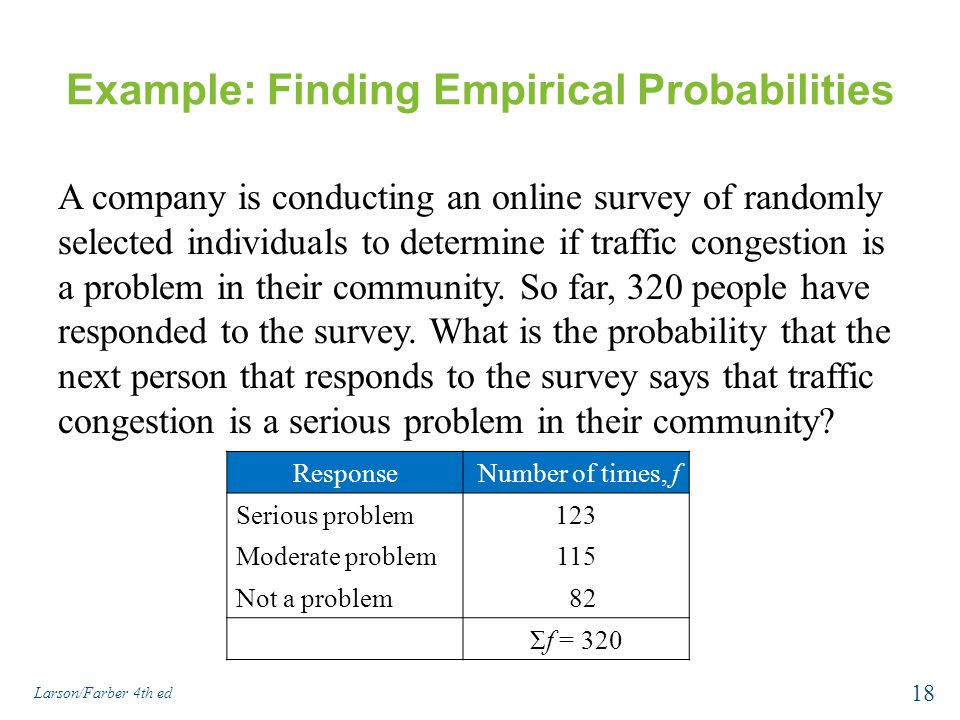 Example: Finding Empirical Probabilities A company is conducting an online survey of randomly selected individuals to determine if traffic congestion is a problem in their community.
