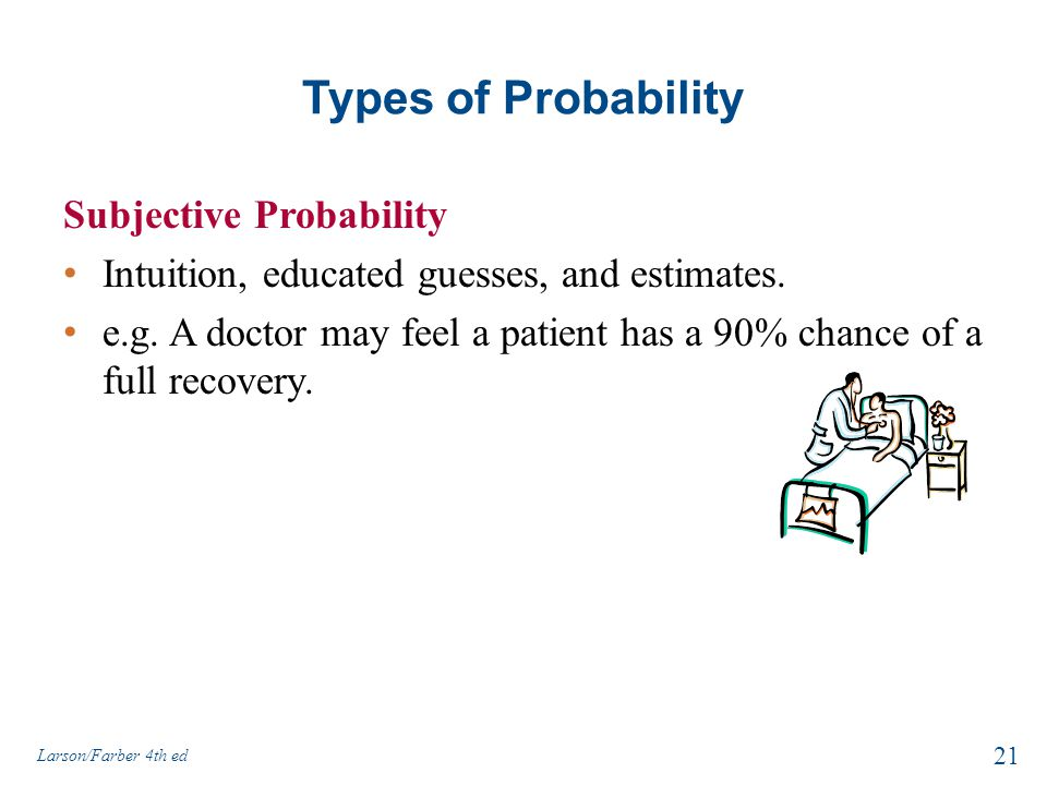 Types of Probability Subjective Probability Intuition, educated guesses, and estimates.