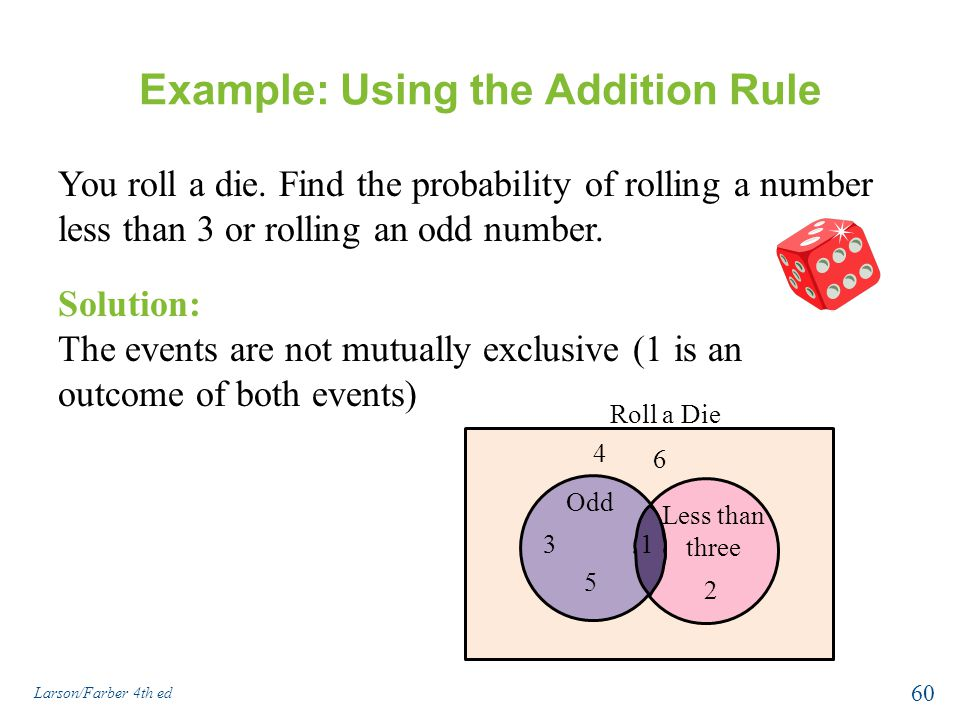 Example: Using the Addition Rule You roll a die.