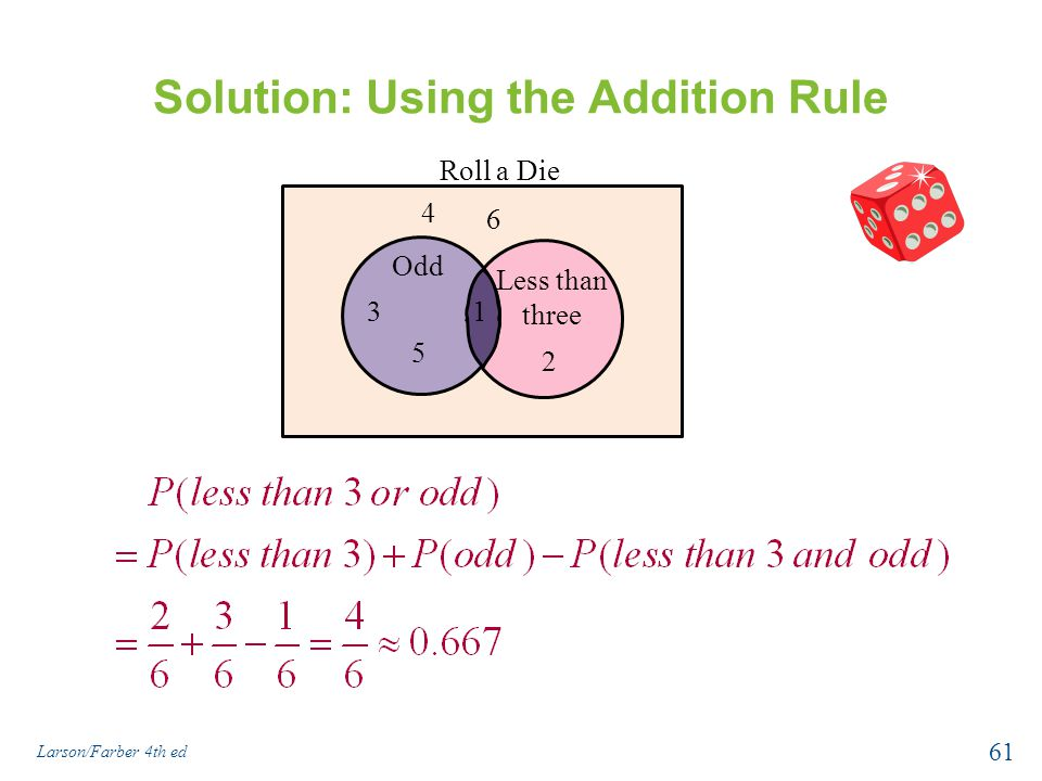 Solution: Using the Addition Rule Larson/Farber 4th ed 61 Odd 5 31 2 4 6 Less than three Roll a Die