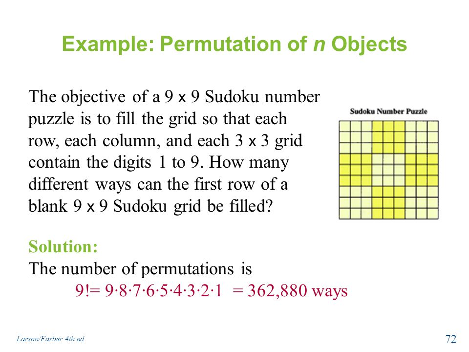 Example: Permutation of n Objects The objective of a 9 x 9 Sudoku number puzzle is to fill the grid so that each row, each column, and each 3 x 3 grid contain the digits 1 to 9.